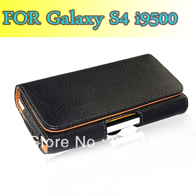 Free Shipping 1pcs Mobile Bag,Holster Flip Leather Case Pouch Cover Skin For Samsung Galaxy SIV S4 gt-i9500 with belt Clip/Loop