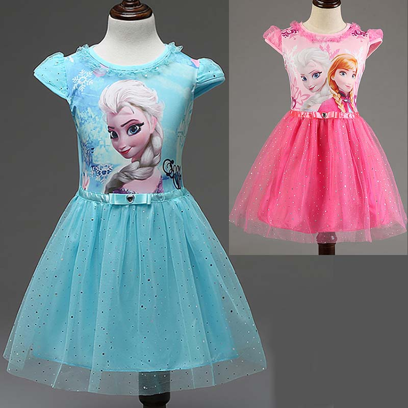 2016 Summer children's clothing girls dresses anna elsa princess dress for girl infant kids costume party wedding baby clothes(China (Mainland))