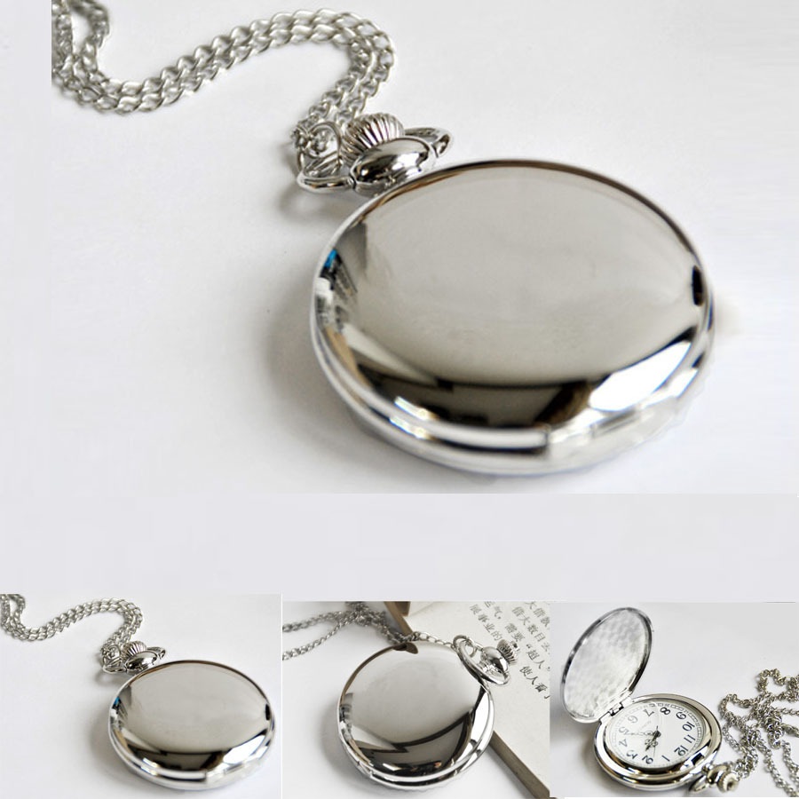 Hot Selling Concise Silver Round Vintage Watch Fashion Leisure Necklace Pocket Watch For Men Children Best