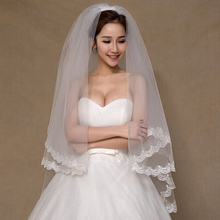 Wedding Accessories 2015 Appliques Tulle Short Wedding Veil Lace Edge Bridal Veil with Comb veu de noiva longo Free Shipping(China (Mainland))