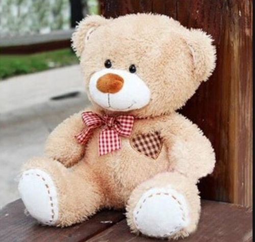 plush scarf beige teddy bear grid heart stuffed animal soft toys 20 cm - bestgifts store