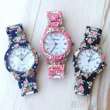 Women s Geneva Floral Print Ceramic Style Analog Quartz Wrist Watch 6L7W