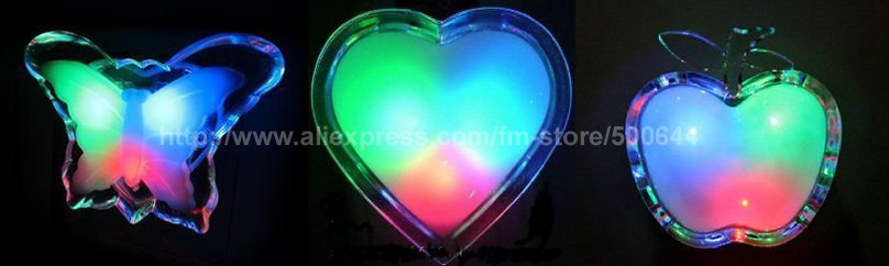 Colorful Apple Butterfly Heart Shape Night Light/LED Night Lamp/LED Bedlight & 100PCS/Lot EMS Free Shipping(China (Mainland))