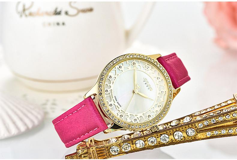 Новая леди женщина юлий наручные часы кварцевых часов лучший мода платье браслет девушка подарок на день рождения кожа оболочки сердца полости 852