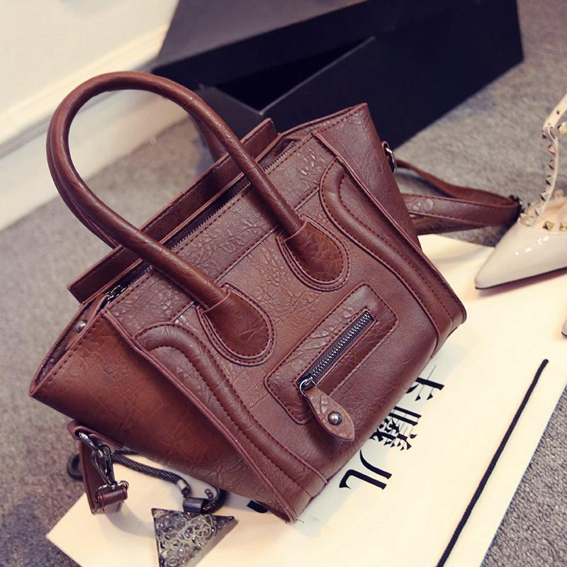 Women Genuine Leather Handbags Trapeze Smiley Shoulder Bags Ladies C Brands Line Tote Bags, Black Brown Orange Handle Bags Bolsa(China (Mainland))