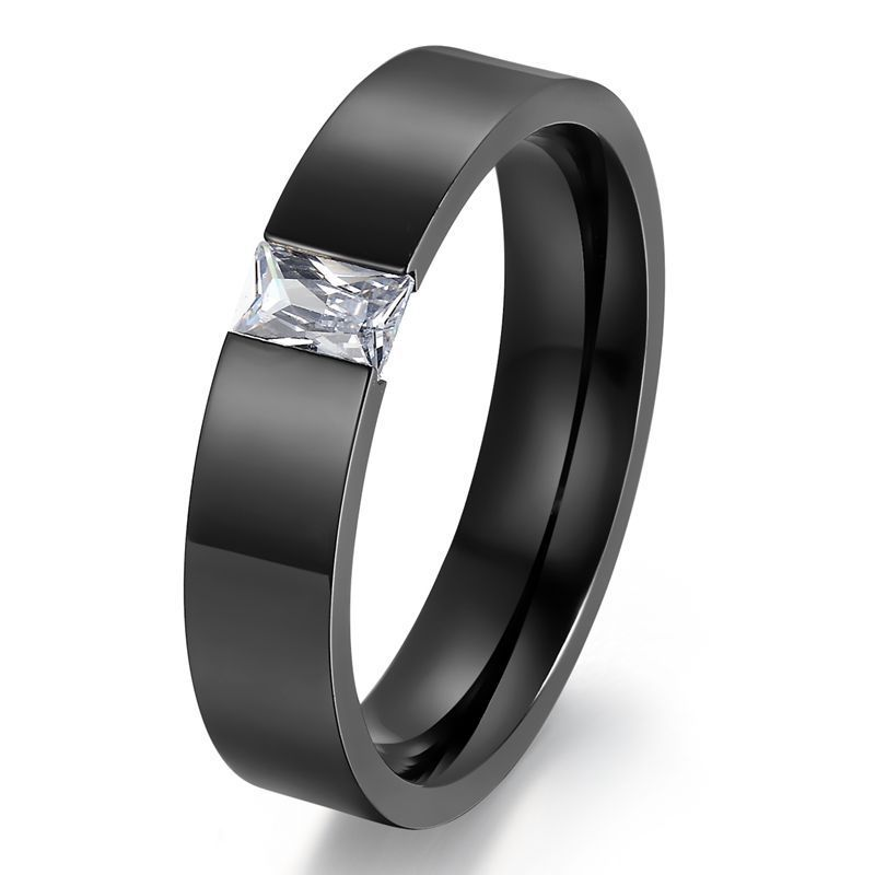 black gold filled Fashion wedding rings for men and women stainless steel hig