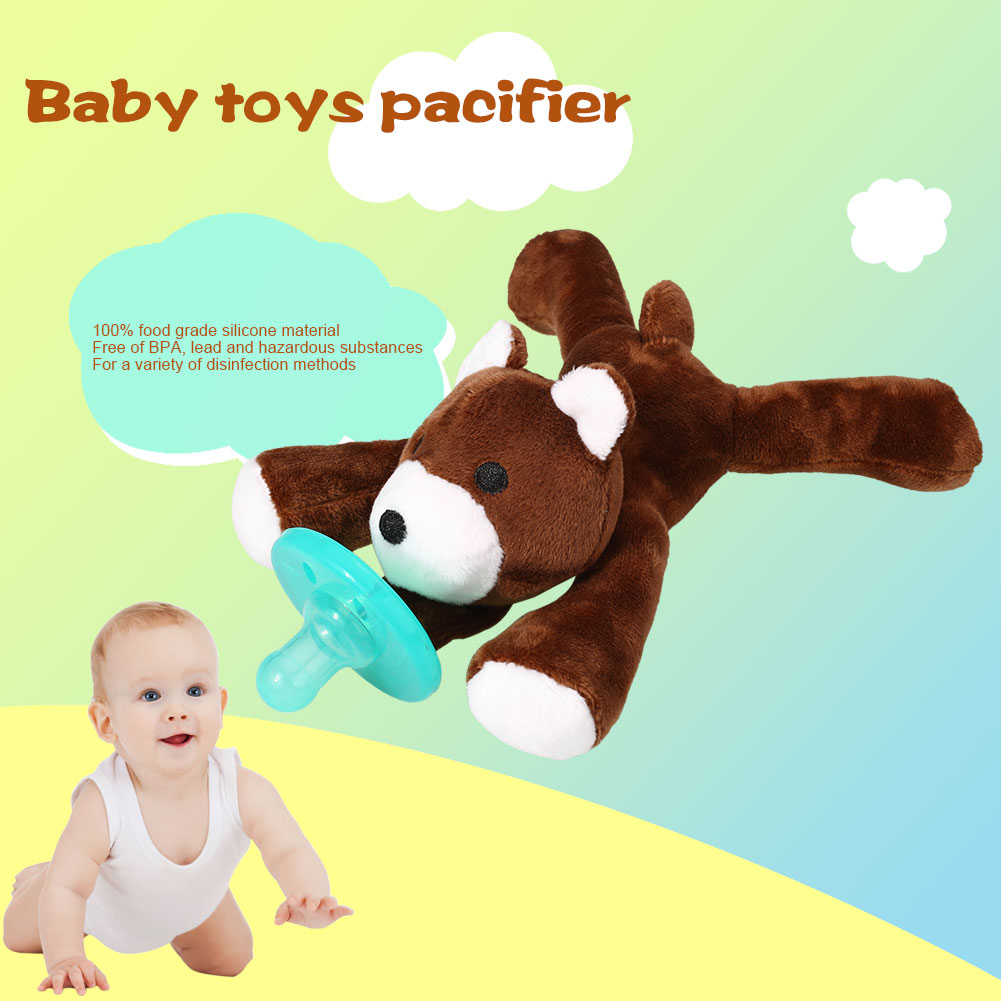 Lovely Soft Plush Animal Toy Infant Baby Boy Girl Funny Pacifier Silicone Baby Pacifier Feeding Dummy Nipple Soother