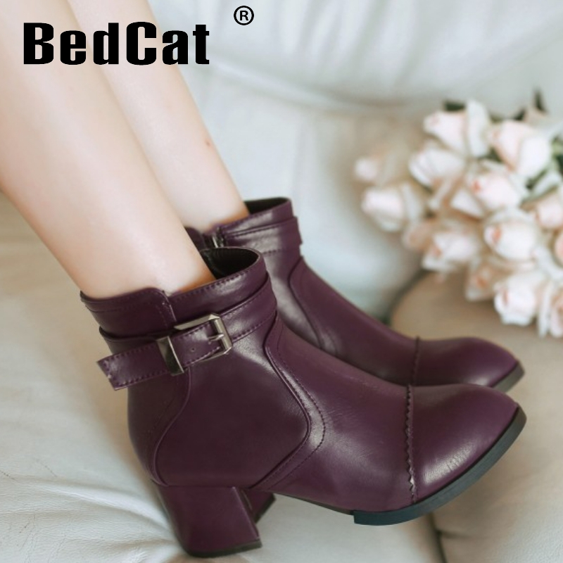 CooLcept ankle high heel short boots women snow fashion winter warm boot footwear P15497 EUR size 32-43