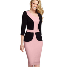 Buy Professional Women Autumn Casual Wear Work Elegant Colorblock Contrasting Bodycon Dresses EB348 for $16.93 in AliExpress store
