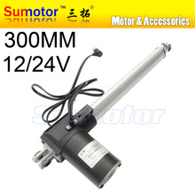 L300 12 inch(300mm) travel Electric linear actuator dc motor, DC 24V, 5/10/30mm/s, Heavy Duty Push 600/300/100Kg, high Quality(China (Mainland))