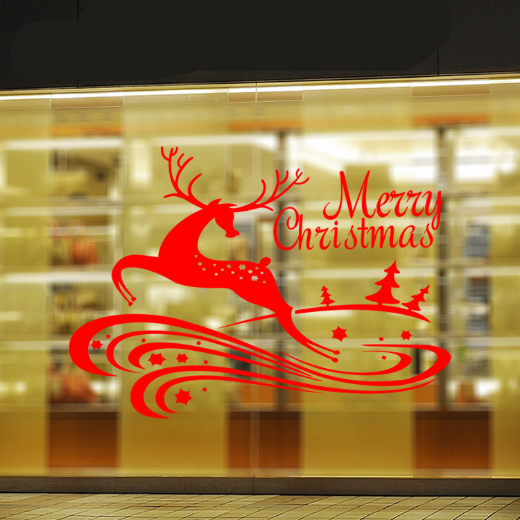 Merry christmas deer sticker living room children bedroom wall window art sti - Stickers muraux cdiscount ...