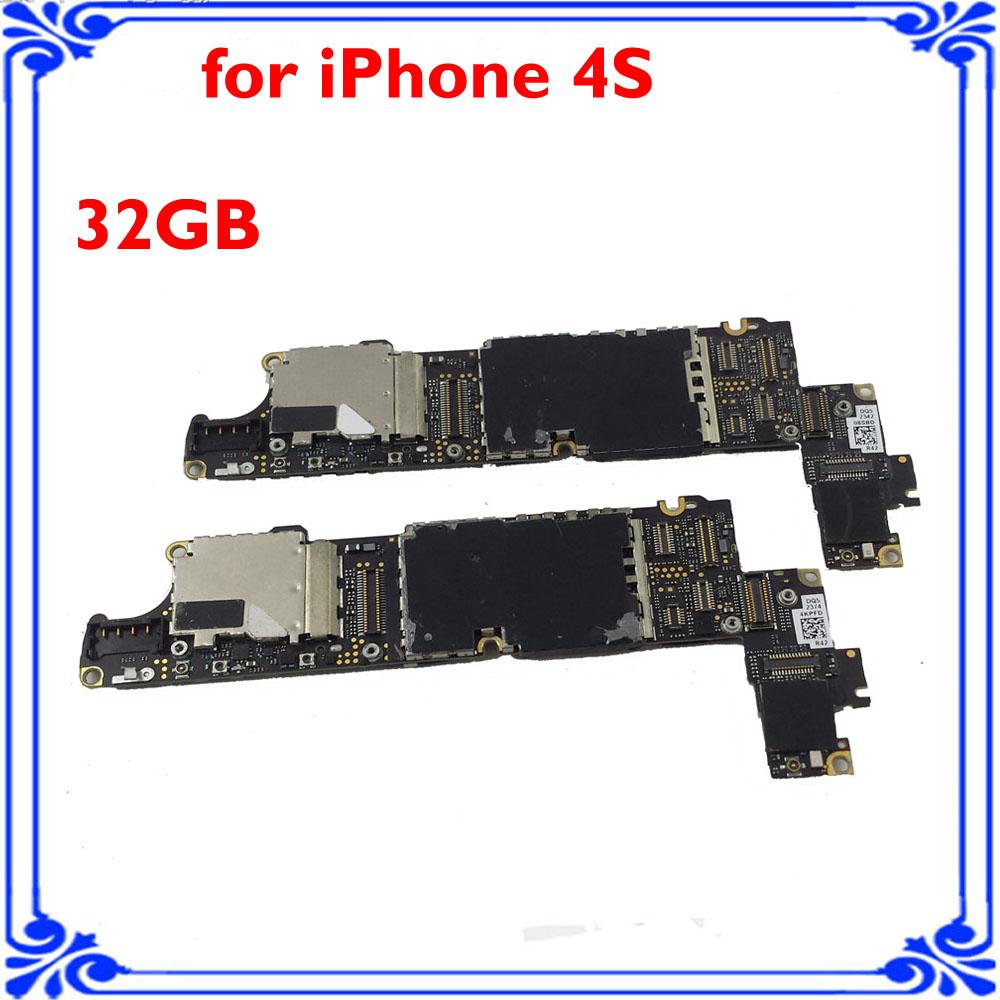 for iphone 4s original main board 32GB unlocked motherboard full function smart phone Circuits board good working logic board(China (Mainland))