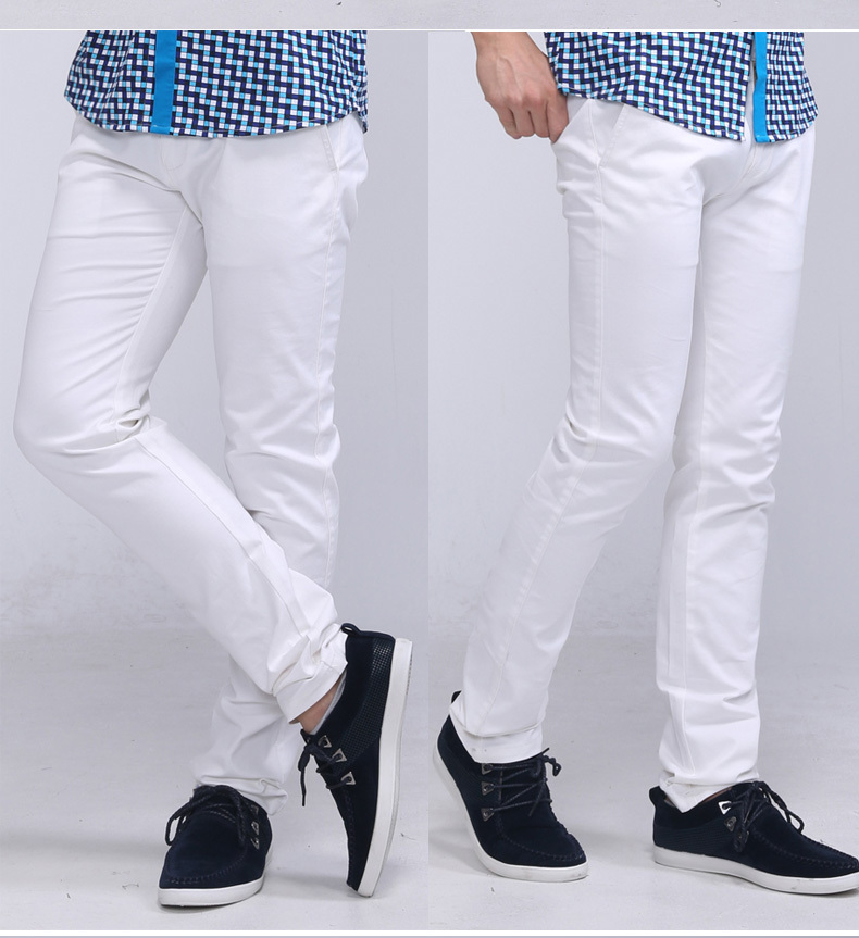 Mens White Casual Trousers White Men's Pants Trousers