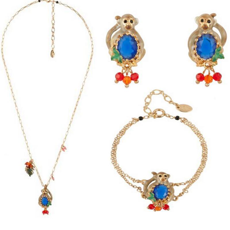 2016 les nereides new enamel glazes sapphire monkey necklace <br><br>Aliexpress