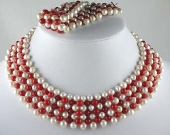 New Fashion Hot Beautiful Lady's Pearl Jewelery Set Natural Hand-knit white Pearl Red Coral Necklace Bracelet free shipping