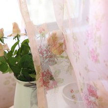 Pastoral Semi-Blackout Pink Flower Curtain Fabric For Living Room Blue Voile Sheer Curtains Drapes For Children Bedroom S175&30(China)