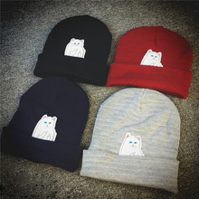 Hot! Cat Erect Middle Finger Hat Winter Couples Wool Hats Fashion Cotton Women Warm Head Hats Knitting Hats