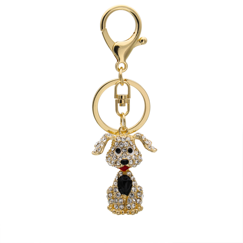 Lovely Fashion Rhinestone Pet Dog Keychain 2016 Poodle Key Chain For Car Key Ring Gold Plated Ornaments Pendant Woman KDR25-9(China (Mainland))