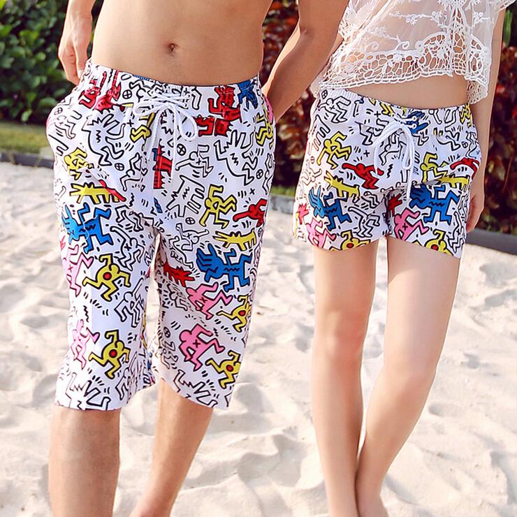 Men Shorts Graffiti Printed Surf Boardshorts Couple Holiday Beachwear Causal Knee Length Beach Shorts Sports Plus size(China (Mainland))