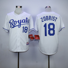 Mens KC High Quality 16 Bo Jackson 18 Ben Zobrist Throwback Jerseys color blue gray white(China (Mainland))