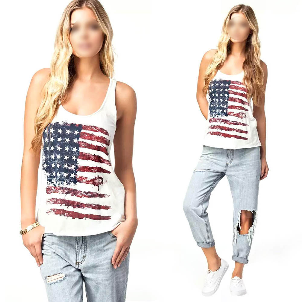 Women White Blouse USA National Flags Print Summer Vest Tank Tops S-XL(China (Mainland))