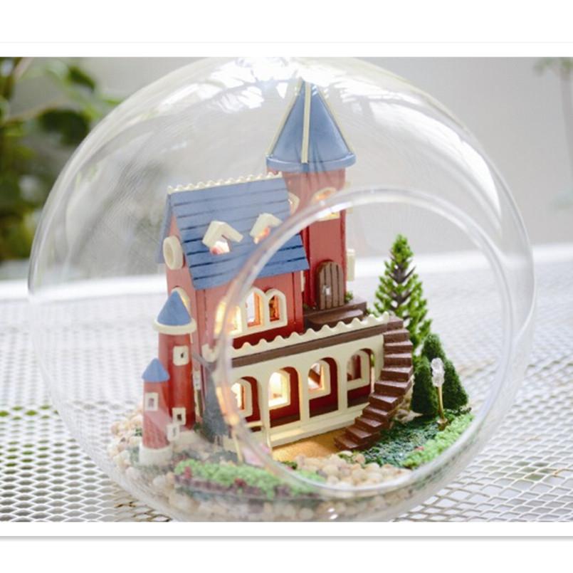 Dream Castle DIY Glass Ball Doll House Model Building Kits ,Handmade Wooden Miniature Dollhouse Toys Free Shipping(China (Mainland))