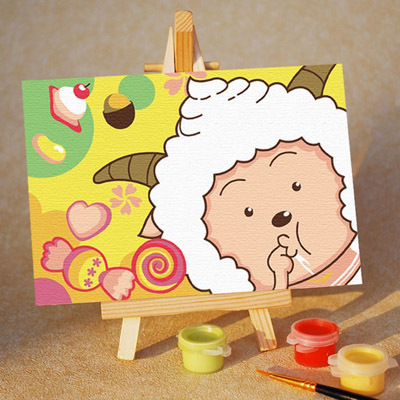 Diy digital oil painting diy hand painting oil painting child cartoon painting lazy goat 10 15 belt easel