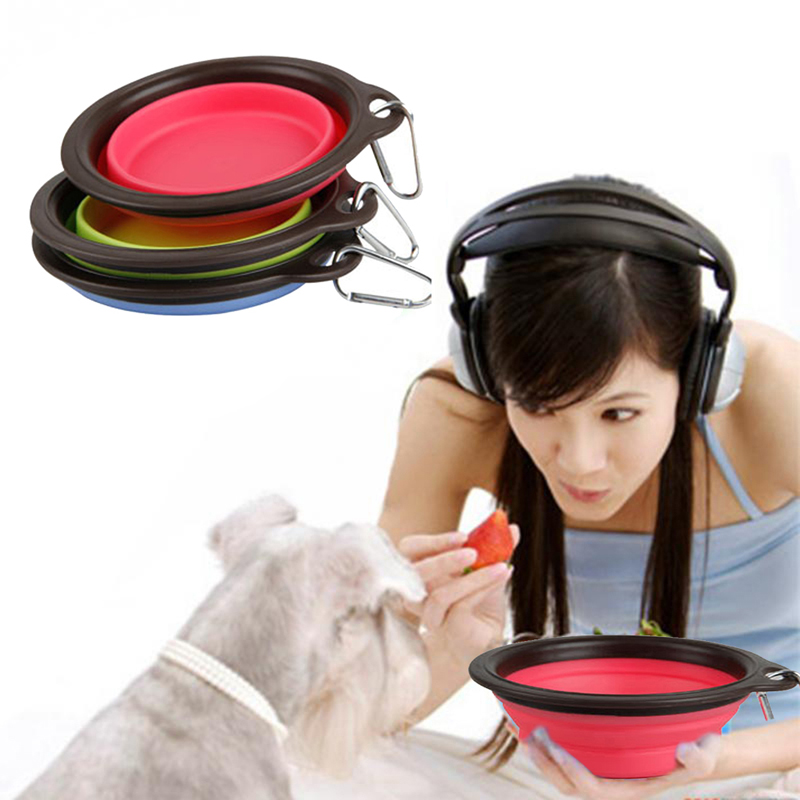 Free shipping Pet Products silicone Bowl pet folding portable dog bowls wholesale for food the dog drinking water bowl pet bowls(China (Mainland))