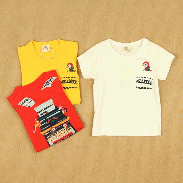 Male female child baby thin cotton modal 100% short-sleeve T-shirt infant children summer red white 3