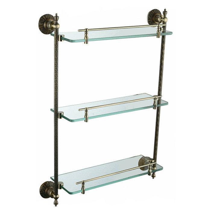 copper Antique Bronzepaint triple tier glass shelf shelving bathroom shelf bathroom shelf AB012a-1 touch faucet(China (Mainland))