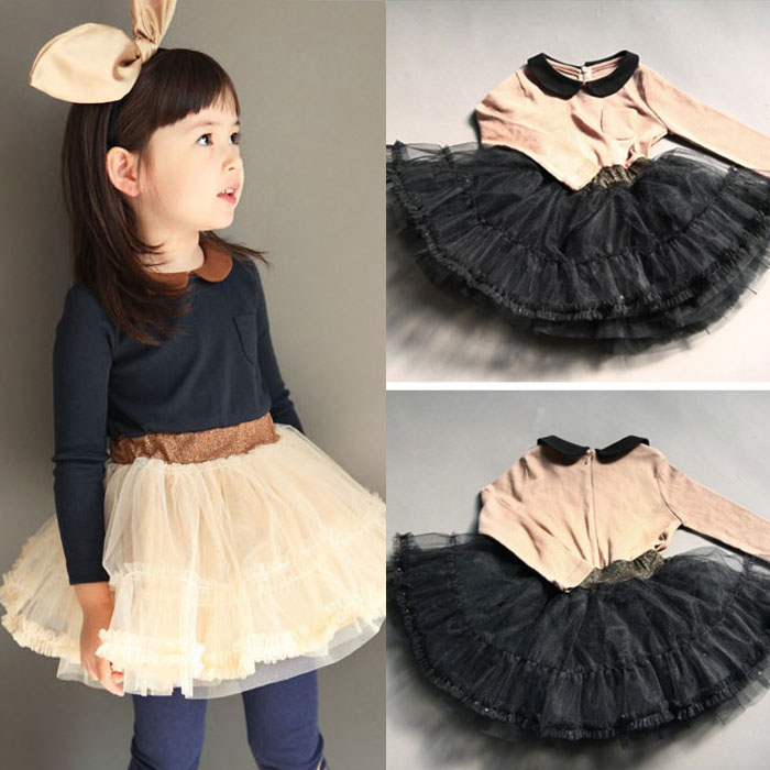 Cheap Kids Dresses For Girls Free Shipping 2015 Autumn Korean Children's Clothing New Girls Gauze Baby Dress Qz-0210 Wholesale(China (Mainland))