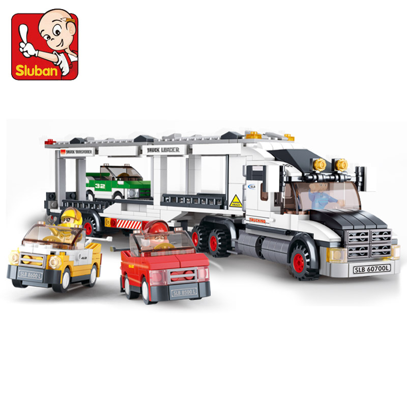 Sluban Auto Transport Truck Speedway Trailer Building Blocks Set Simcity Transport Vehicle Brick Toy Gift Education DIY Toys<br><br>Aliexpress