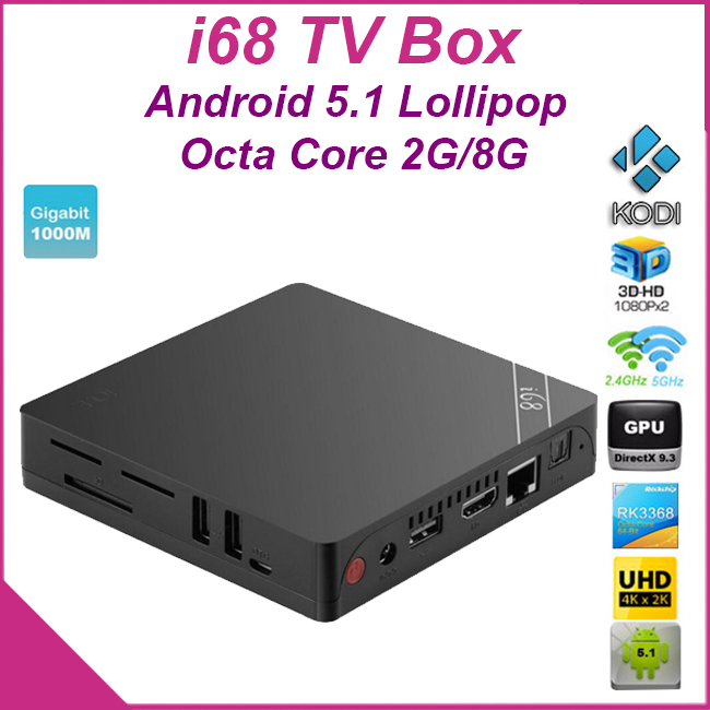 [Genuine] i68 Android 5.1 TV Box Rockchip RK3368 Octa Core 64Bit 2GB/8GB Bluetooth4.0 KODI 2.4G/5GHz Dual Wifi H.265 Gigabit Lan