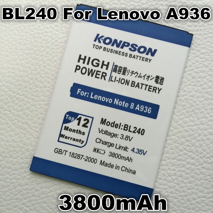 BL240 3800mAh Replacement Backup Battery Lenovo Note 8 A936 Smartphone - Top Business Store store