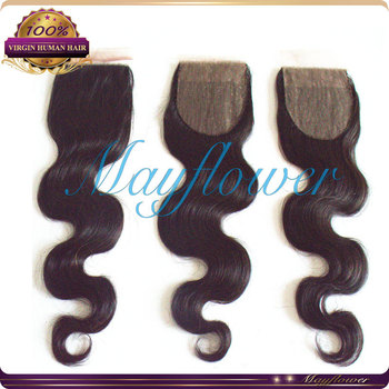"3.5x4 2015 best silk base closure virgin BRazilian body wave top closure hidden bleached knots 10""-18"""