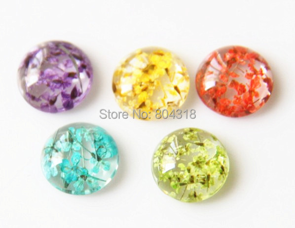 24 pcs of resin  dome cabochon 12mm -real dry flower inside-- 1021-you can choose color free shipping<br><br>Aliexpress