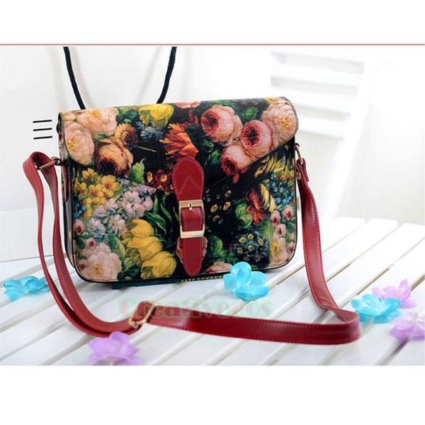 Women's PU Leather Vintage Printed Flower Belt Buckle Magnetic Clasp Postman Shoulder Messenger Cross body Casual Bag(China (Mainland))