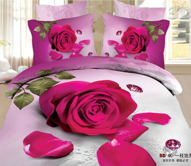 3d hot pink rose flower print designer bedding comforter for Hot pink bedroom set