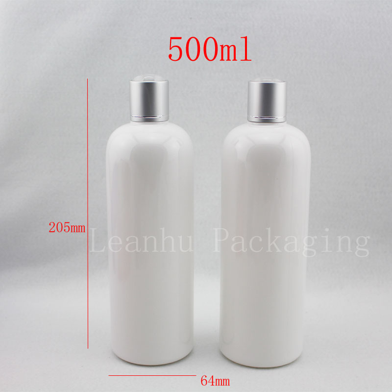500ml x 12 empty white skin care cosmetic package bottles silver cap 500cc liquid soap shampoo PET container bottle lotion - Packaging E shop store