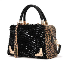 2016 Fashion women bag Vintage Leopard Sequins Designer handbags famous brands Women Messenger Bags Shoulder Bag bolsas Sac