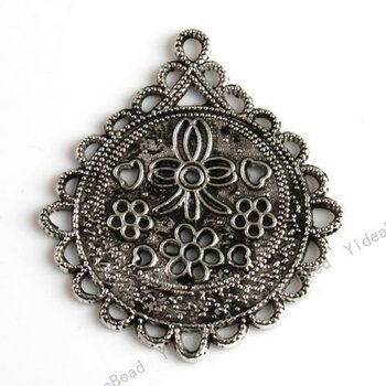 Wholesale - New Fashion Tibet Silver Pandents Flowers Charms Alloy Pendants Have in Stock Fit Necklaces 40pcs 140479