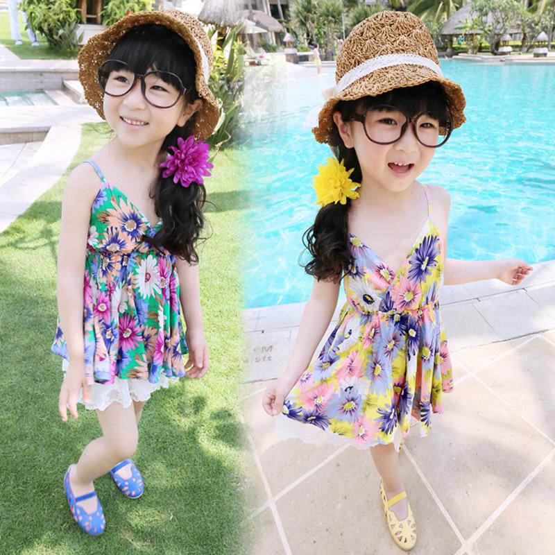 2015 Real Girls Dress Vestidos Infantis New Girls Summer Floral Dress Children Retro Flower Sleeveless Princess Free Shipping(China (Mainland))