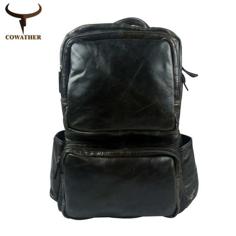 2015 huge litre vintage backpacks for men school backpack waxy skin cow genuine leather male daily back pack bags free shipping<br><br>Aliexpress