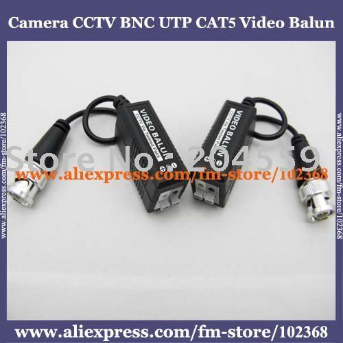 100pcs Camera CCTV BNC UTP CAT5 Video Balun Twistered Pair Transceiver Cable AT-C12-19B