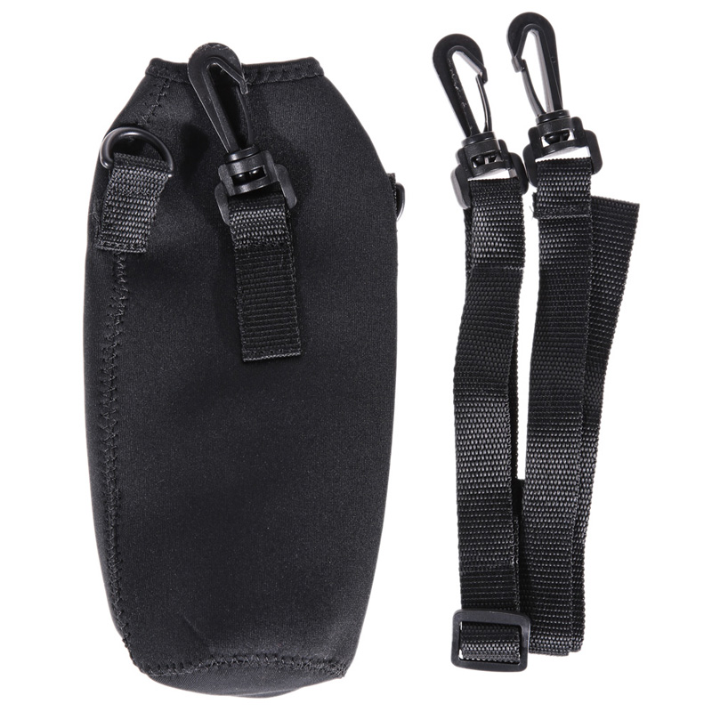 Black 1000ml Water Bottle Carrier Insulated Cover Bag Pouch Holder Shoulder Strap FEN#(China (Mainland))