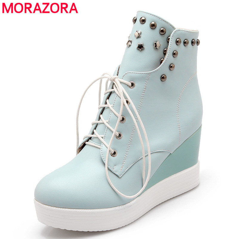 2016 New fashion lace women boots sweet platform shoes wedges high heels ankle rivets soft leather snow - MORAZORA store