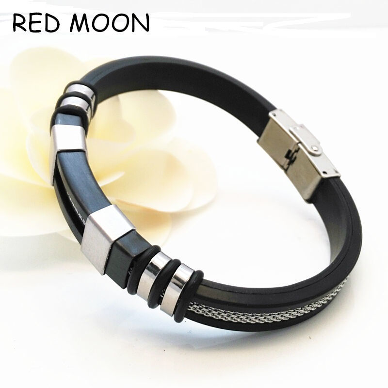 Fashion Punk Men Jewelry Bracelet Stainless Steel Cuff Bangle Silver Hand Chain Black Silicon Wristband(China (Mainland))