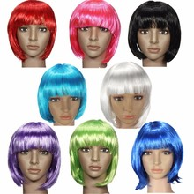 2015 Fashionable Bob Stylish Synthetic Straight Hair Women Styling Short Full Lace Wig Multi 8 Colors Halloween Cosplay Party(China (Mainland))