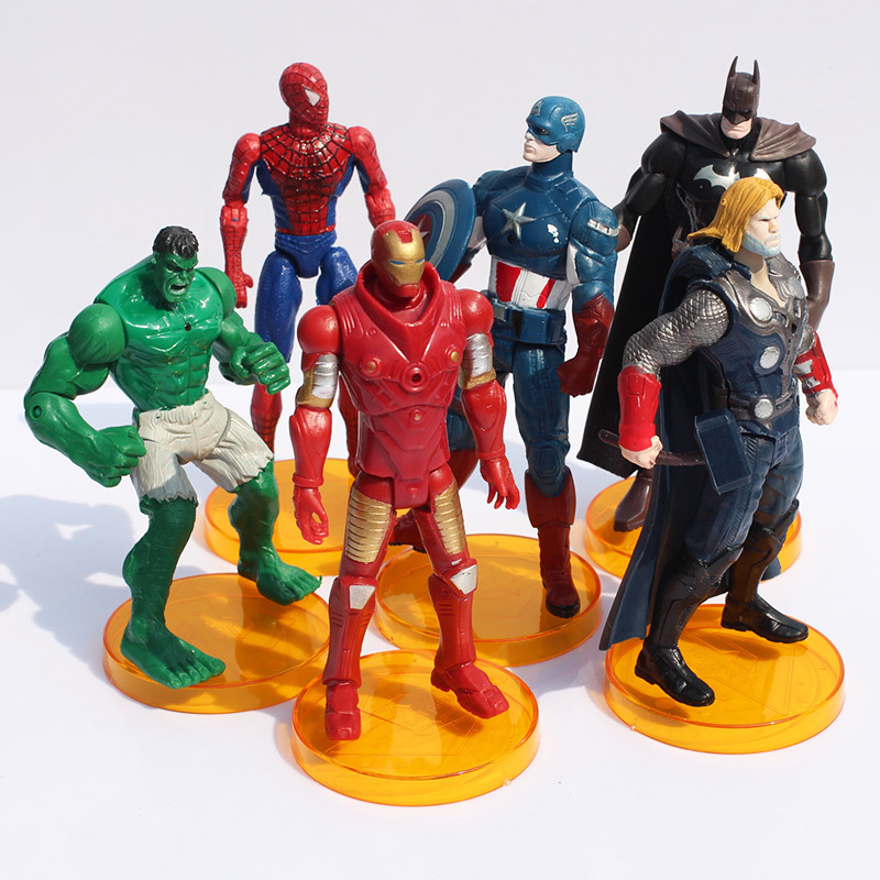 6Pcs/Set Superheroes Avengers Figures Captain America Thor Spiderman Batman Hulk Iron Man PVC Action Figure Toys - Emgrand Technology Co., Ltd. store