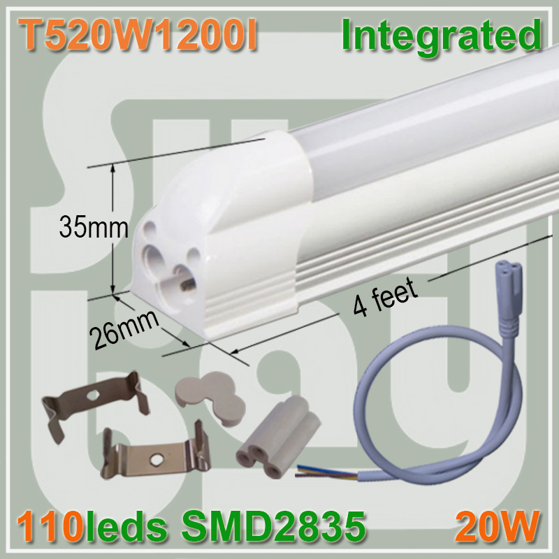 4pcs/lot LED 4ft T5 integrated tube 20W milky clear cover surface mounted bulb comes with accessory completed set easy install(China (Mainland))